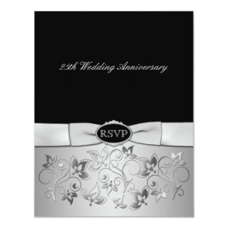 PRINTED BOW Black, Silver Gray RSVP Card Personalized Invite