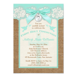 PRINTED BOW & CHARM First Holy Communion Invite