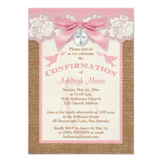 PRINTED BOW & CHARM Pink Confirmation Invite