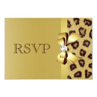 Printed Bow, Diamond & Leopard Print RSVP Card