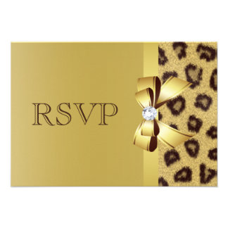Printed Bow, Diamond & Leopard Print RSVP Announcement