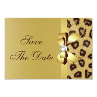 "Printed Bow, Diamond & Leopard Print Save the Date 3.5"" X 5"" Invitation Card"