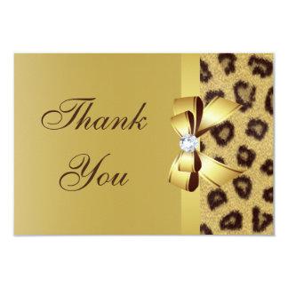 Printed Bow, Diamond & Leopard Print Thank You Card