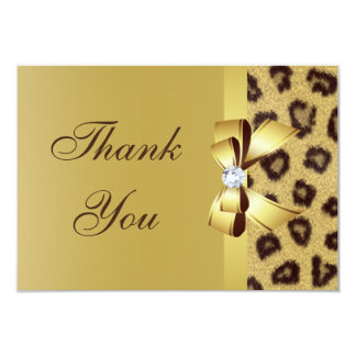 "Printed Bow, Diamond & Leopard Print Thank You 3.5"" X 5"" Invitation Card"