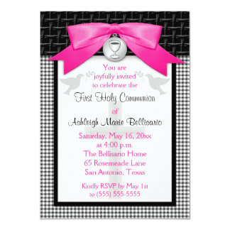 PRINTED BOW First Holy Communion Invitation