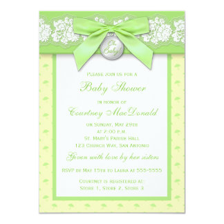 PRINTED BOW Floral Lace Baby Shower Invite