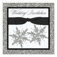 PRINTED BOW Glitter LOOK Snowflakes Wedding Invite