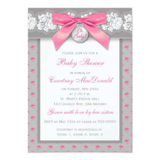 PRINTED BOW Gray Floral Lace Baby Shower Invite