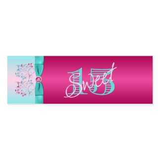 PRINTED BOW Hot Pink, Aqua Floral Favor Tag Double-Sided Mini Business Cards (Pack Of 20)