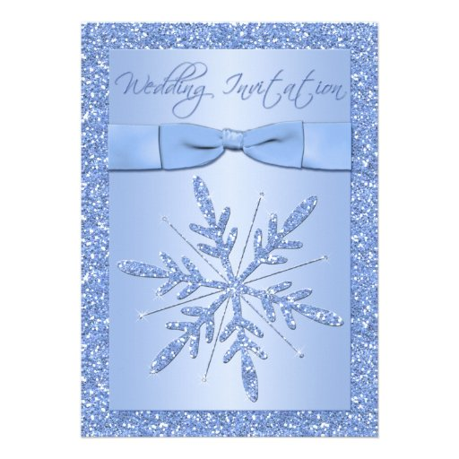 PRINTED BOW Ice Blue Snowflakes Wedding Invite