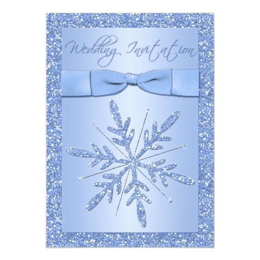 "PRINTED BOW Ice Blue Snowflakes Wedding Invite 5"" X 7"" Invitation Card"