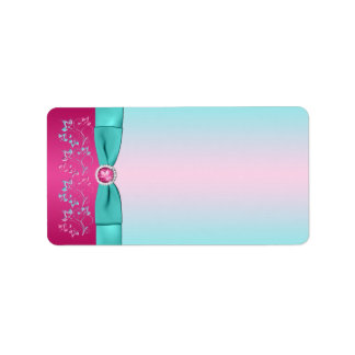 PRINTED BOW Pink, Aqua Floral Blank Label Address Label