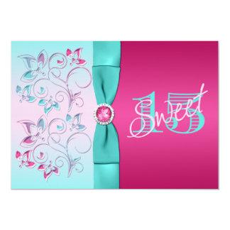 PRINTED BOW Pink, Aqua Floral Quinceanera Invite