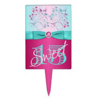 PRINTED BOW Pink, Aqua Floral Sweet 15 Cake Pick