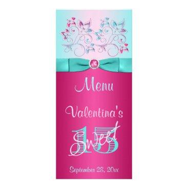 PRINTED BOW Pink, Aqua Floral Sweet 15 Menu Card