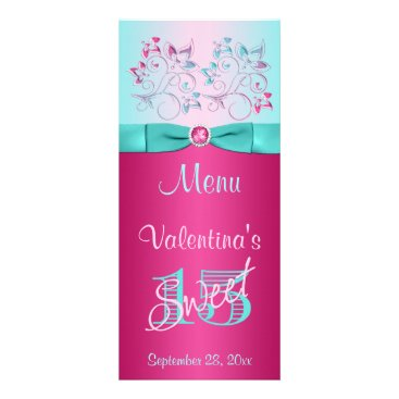PRINTED BOW Pink, Aqua Floral Sweet 15 Menu Card Custom Rack Card