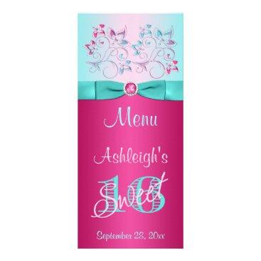 PRINTED BOW Pink, Aqua Floral Sweet 16 Menu Card Customized Rack Card