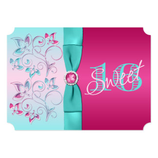 PRINTED BOW Pink, Aqua Floral Sweet Sixteen Invite