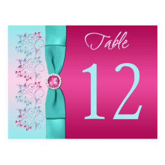 PRINTED BOW Pink, Aqua Floral Table Number Card