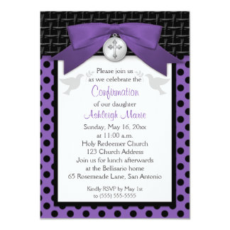 PRINTED BOW Purple First Holy Confirmation Invite