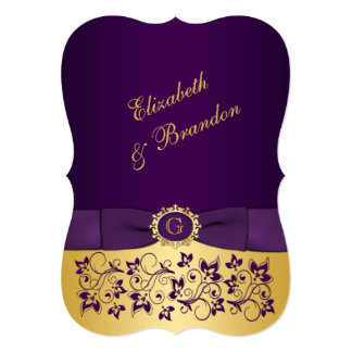 PRINTED BOW Purple, Gold Floral Wedding Invite 4