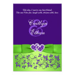 PRINTED BOW Purple Green Floral Wedding Invitation