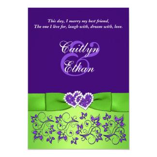 "PRINTED BOW Purple Green Floral Wedding Invitation 5"" X 7"" Invitation Card"