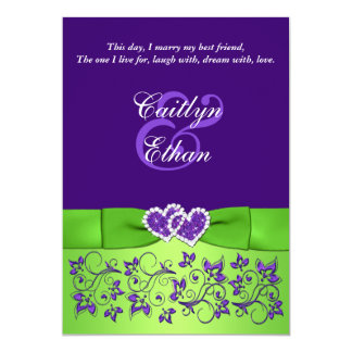 PRINTED BOW Purple Green Floral Wedding Invitation