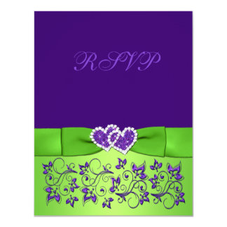 PRINTED BOW Purple Green Floral Wedding RSVP Card