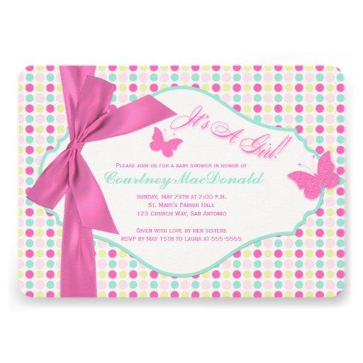 printed bow ribbon hot pink polka dots baby shower 5 x 7 invitati