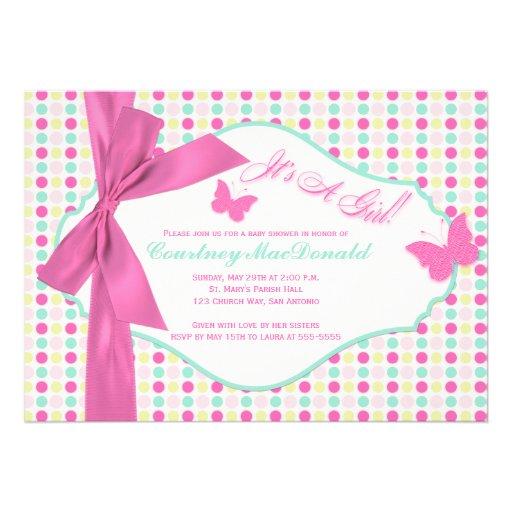 PRINTED BOW/Ribbon Hot Pink Polka Dots Baby Shower Announcements