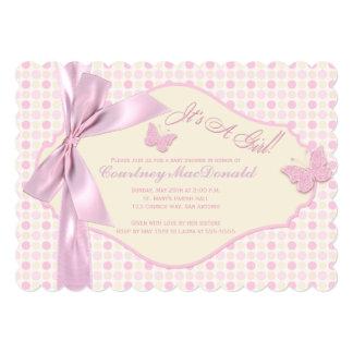 PRINTED BOW/Ribbon Pink Polka Dots Baby Shower Card