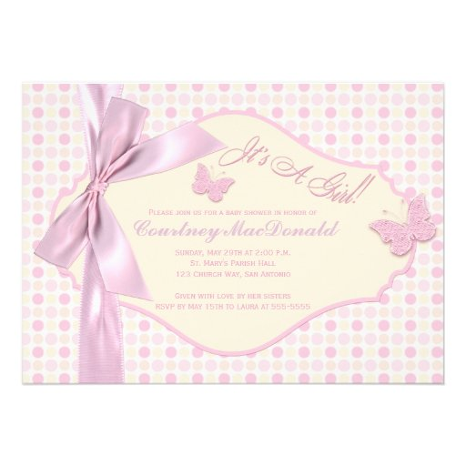 PRINTED BOW/Ribbon Pink Polka Dots Baby Shower Personalized Announcements