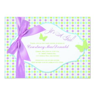 PRINTED BOW/Ribbon Purple Polka Dots Baby Shower Personalized Announcement