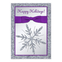 PRINTED BOW Snowflake Holiday Party Invite