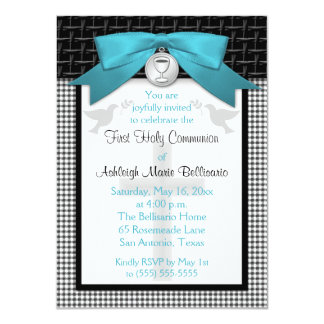 PRINTED BOW Teal First Holy Communion Invitation