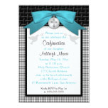 """PRINTED BOW Teal First Holy Confirmation Invite 4.5"""" X 6.25"""" Invitation Card"""