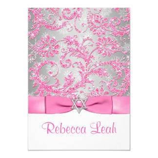 PRINTED Bow - Winter Wonderland Bat Mitzvah - Pink Card