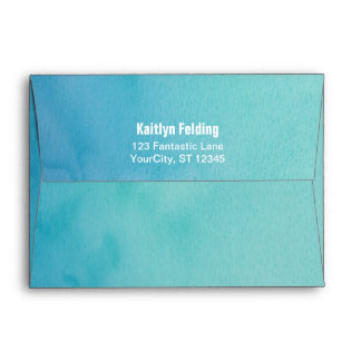 Printed Bride Return Address Teal/Blue Watercolor Envelope
