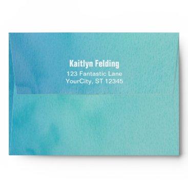 Beach Themed Printed Bride Return Address Teal/Blue Watercolor Envelope