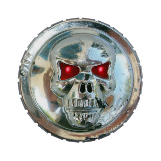 PRINTED CHROME SKULL Red  Ruby Gems Candy Tin