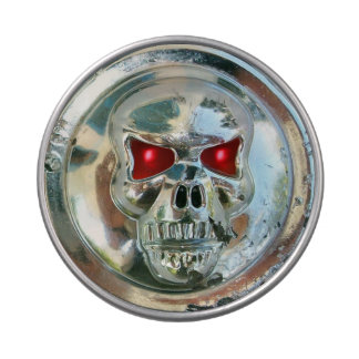PRINTED CHROME SKULL Red  Ruby Gems Candy Tins