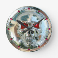 PRINTED CHROME SKULL Red Ruby Gems Round Wall Clock