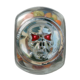 PRINTED CHROME SKULL Red  Ruby Gems Jelly Belly Candy Jars