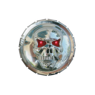PRINTED CHROME SKULL Red  Ruby Gems Jelly Belly Tins