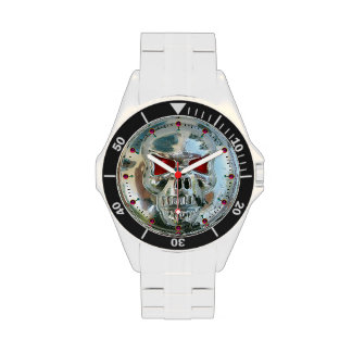 PRINTED CHROME SKULL Red  Ruby Gems Watches
