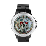 PRINTED CHROME SKULL Red  Ruby Gems Watch