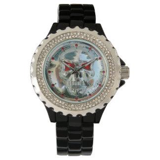 PRINTED CHROME SKULL Red  Ruby Gems Wrist Watch