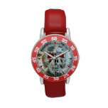 PRINTED CHROME SKULL Red  Ruby Gems Wristwatches