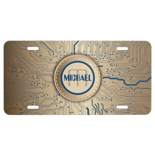 Printed Circuit Board Electronics Copper Monogram License Plate